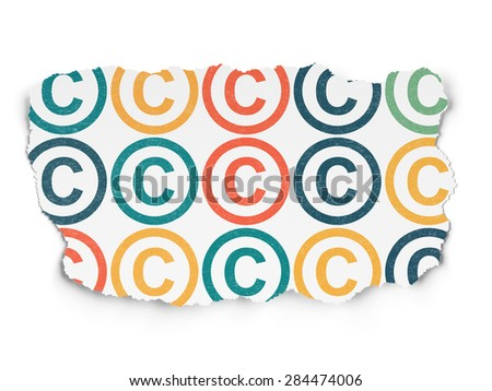 Law concept: Painted multicolor Copyright icons on Torn Paper background, 3d render - stock photo