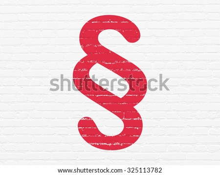 Law concept: Painted red Paragraph icon on White Brick wall background - stock photo