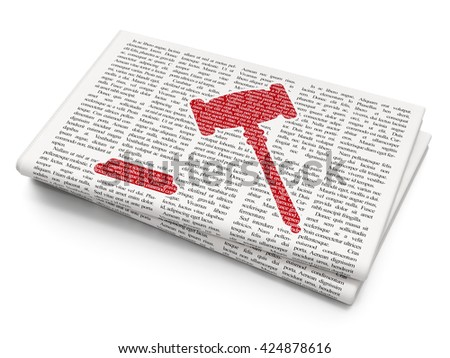 Law concept: Pixelated red Gavel icon on Newspaper background, 3D rendering - stock photo