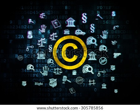 Law concept: Pixelated yellow Copyright icon on Digital background with  Hand Drawn Law Icons, 3d render - stock photo