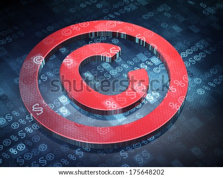 Law concept: Red Copyright on digital background, 3d render - stock photo