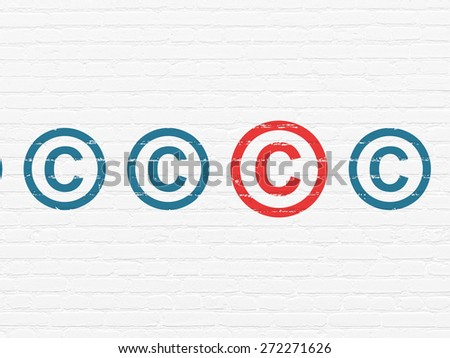 Law concept: row of Painted blue copyright icons around red copyright icon on White Brick wall background, 3d render - stock photo