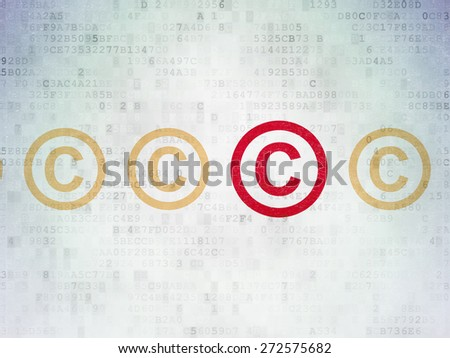 Law concept: row of Painted yellow copyright icons around red copyright icon on Digital Paper background, 3d render - stock photo