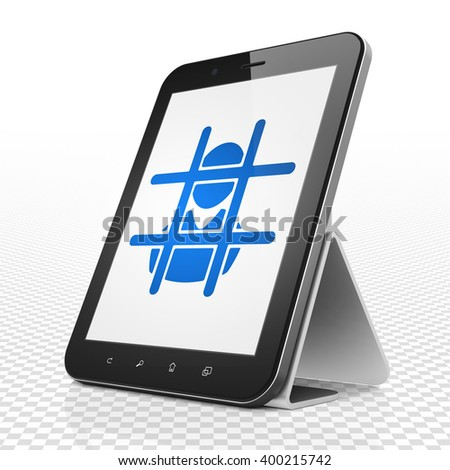 Law concept: Tablet Computer with blue Criminal icon on display, 3D rendering - stock photo
