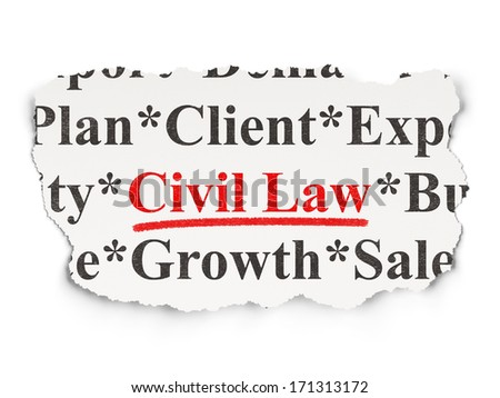 Law concept: torn newspaper with words Civil Law on Paper background, 3d render - stock photo