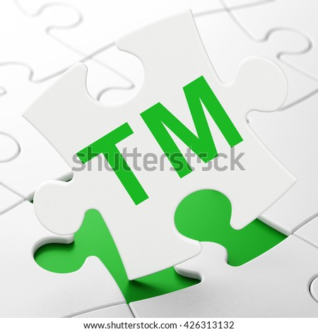 Law concept: Trademark on White puzzle pieces background, 3D rendering - stock photo