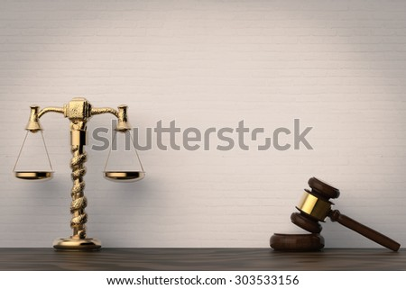 law concept with gavel and scale 3d rendered - stock photo