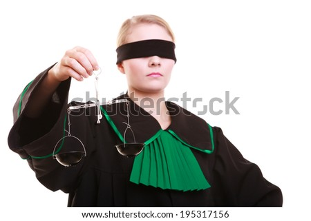 Law court concept. Woman lawyer attorney wearing classic polish (Poland) black green gown with covered eyes holds scales. Femida - symbol sign of justice. isolated on white background - stock photo