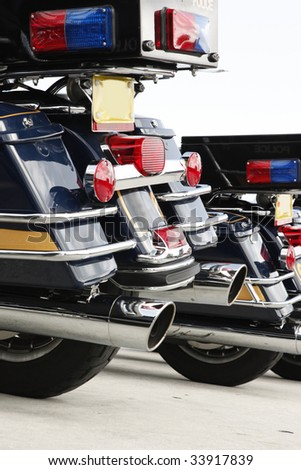 Law enforcement motorcycles ready to ride