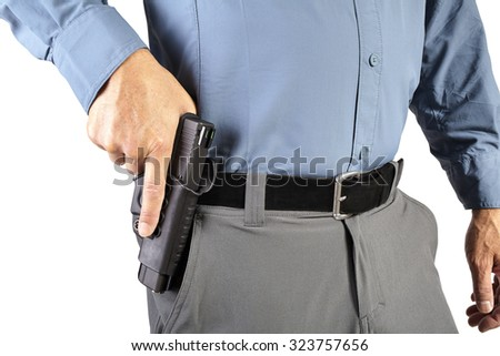 Law Enforcement Professional Man with Firearm Weapon - stock photo