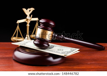 law gavel and dollar money - stock photo
