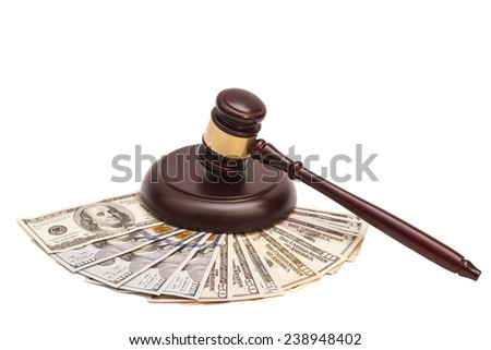 Law gavel on  American money  - stock photo