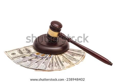 Law gavel on  American money  - stock photo