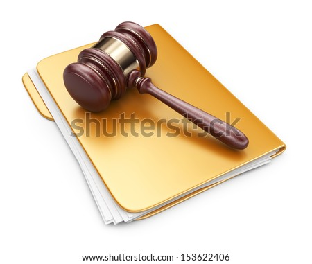 LAW hammer on computer folder. 3D Icon isolated on white background - stock photo