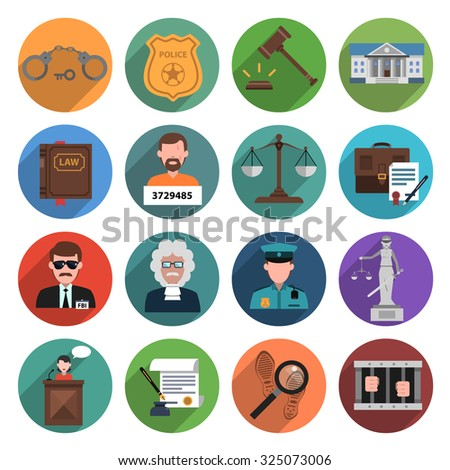 Law icon flat set with handcuffs attorney scales gavel isolated  illustration