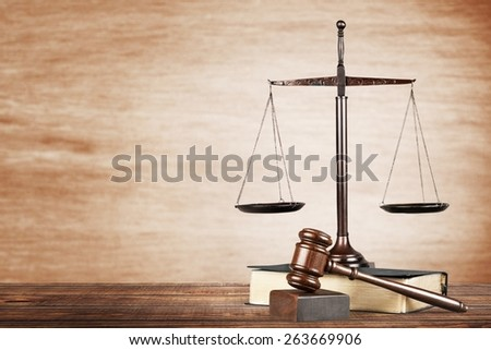 Law. Judge gavel and law book. Isolated on white - stock photo
