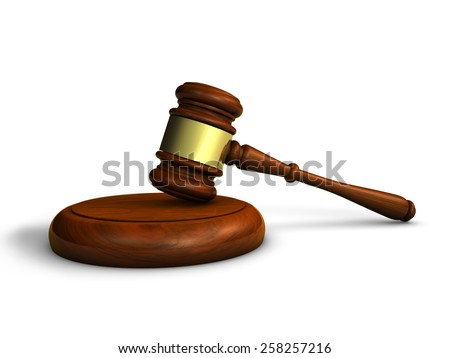 Law, justice and judge concept with a 3d rendering of a gavel on white background. - stock photo