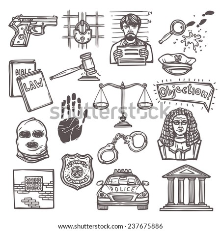 Law justice and legislation icon sketch set isolated  illustration - stock photo