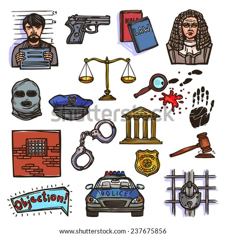 Law justice police and legislation icon color sketch set isolated  illustration - stock photo
