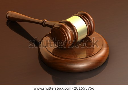 Law, lawyer and justice business concept with a 3d render of a gavel on a wooden brown desktop for banner and law firm background. - stock photo