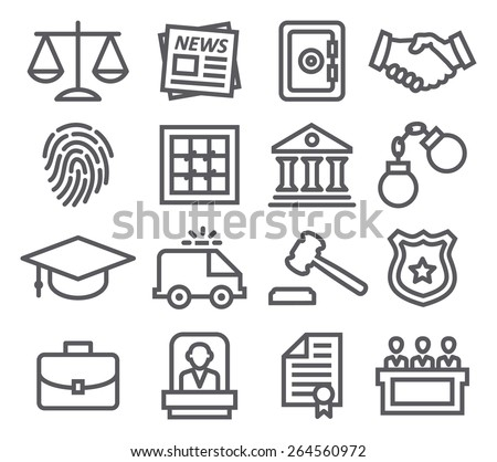 Law line icons - stock photo