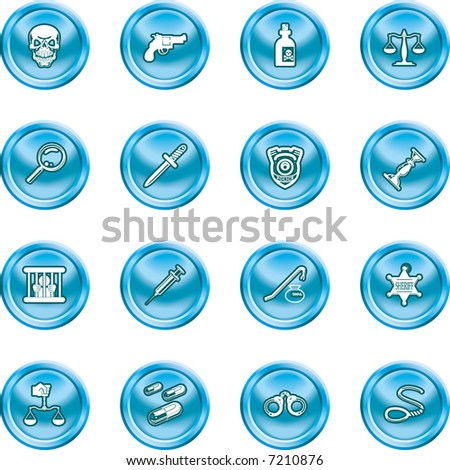 law, order, police and crime icon set A series of design elements or icons relating to law, order, police and crime.   Raster version. - stock photo