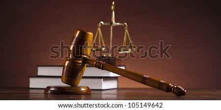 Law theme, mallet of judge - stock photo