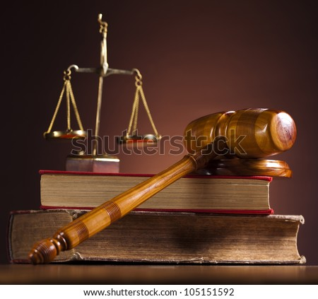Law theme, mallet of judge - stock photo