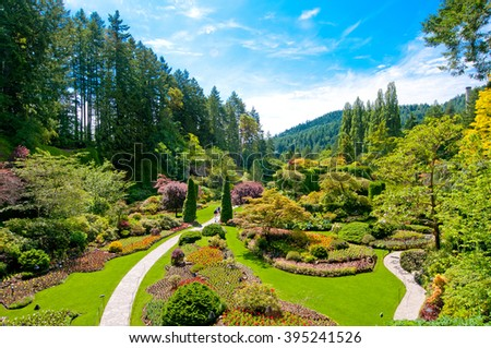 Lawn and Flower beds in the Spring with Lush colors, Victoria, Canada  - stock photo