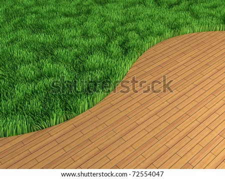 Lawn and parquet in an interior - stock photo