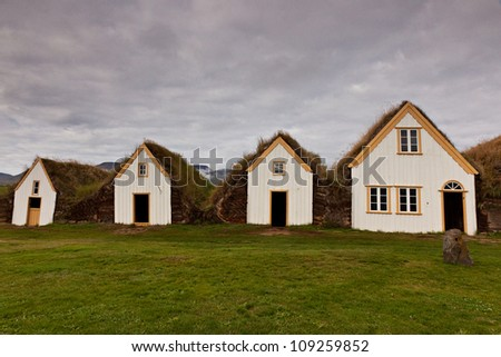Lawn covering housee, iceland original buildings - stock photo