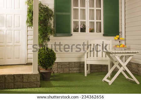 lawn in front of a country house in american style - stock photo
