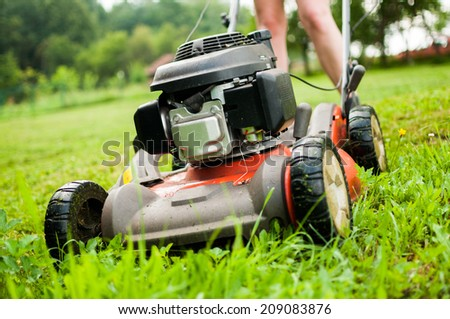 Lawn-Mover in action! - stock photo