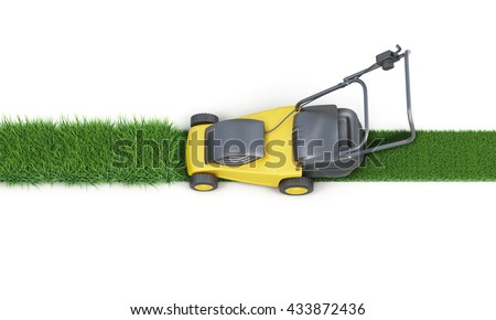 Lawn mower cutting grass isolated on white background. Top view. Electric lawn mower. 3d render image - stock photo