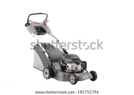 Lawn mower isolated over white background - stock photo