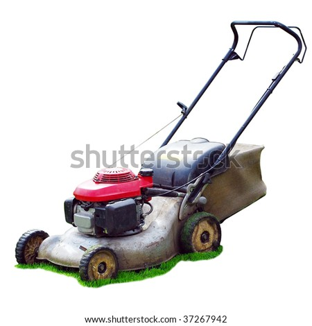 lawn mower on green grass backyard (isolated) - stock photo