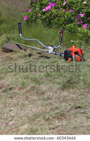 Lawn Mower on the lawn - outdoor - stock photo