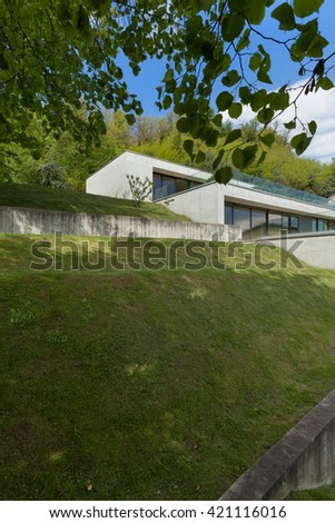 lawn of a modern house in cement
