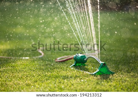 Lawn sprinkler spaying water over green grass. Irrigation system - stock photo
