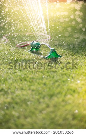 Lawn sprinkler spaying water over green grass. Irrigation system. backlight, shallow depth of field - stock photo