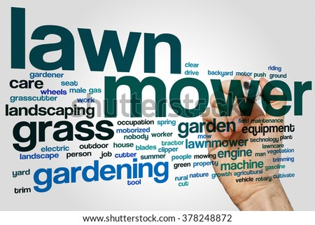 Lawnmower word cloud concept with grass gardening related tags - stock photo
