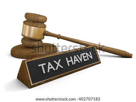 Laws against illegal tax havens for offshore money accounts, 3D rendering - stock photo