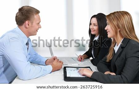 Lawyer, Advice, Customer. - stock photo