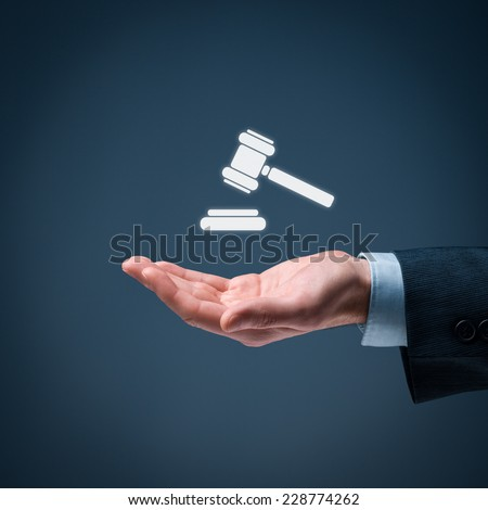 Lawyer (advocate, jurist) grant legal aid. Law represented by judicial gavel icon.  - stock photo