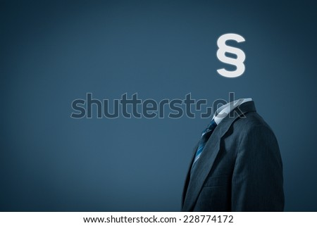 Lawyer (advocate, jurist) help represented by photo of man and paragraph symbol instead of head. - stock photo