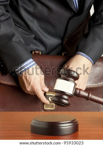 Lawyer in courtroom - stock photo