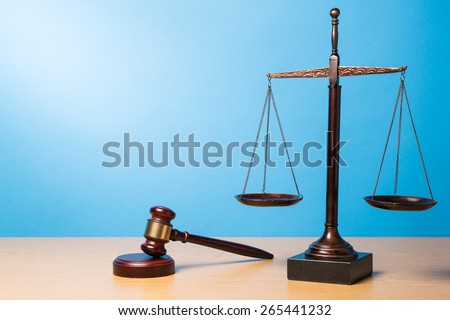 Lawyer. Law scales, judge gavel on table. Symbol of justice. - stock photo