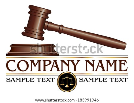 Lawyer or Law Firm Design is an illustration of a design for law, lawyers, or law firms. Includes a gavel, scales of justice and space for your text such as your company name, established date. etc. - stock photo