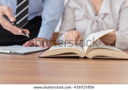 Lawyers having team meeting in law firm. Concepts of law, advice,legal services. - stock photo