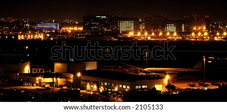 LAX airport in Los Angeles, California, at night - stock photo